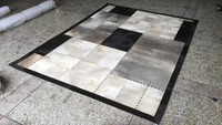 Gray And Black Patchwork Cowhide Area Rug Luxury Newest Fur Leather Rugs And Carpets