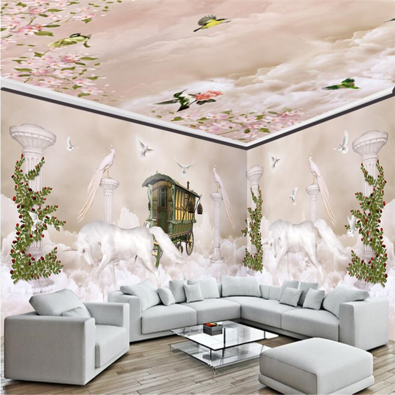 unicorn living walls bedroom dream 3d backdrop clouds sky columns tv wall mural roman wallpapers paper beibehang zoom