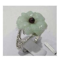 Wholesale FREE SHIPP Fashion Chinese Jade Flower Women S Ring Size 8