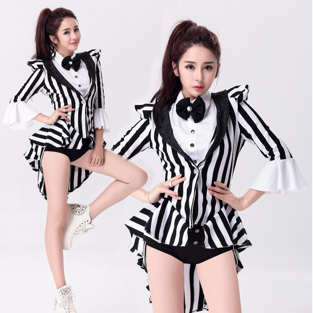 Female Singer Ds Costume Dance Jazz Black White Stripe Color Block Formal Dress Tuxedo Costumes Fashion Star Costume