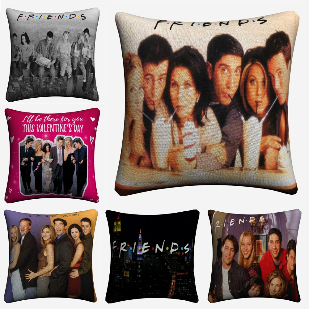 Friends TV Show Classic Figures Cotton Linen Decorative Cushion Cover 45x45cm For Sofa Chair Pillow Case Home Decor Almofada