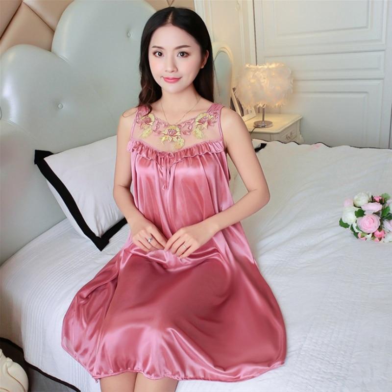 Women Casual Chemise 12 Color Nightie Nightwear Lingerie Nightdress Sleepwear Dress Hot Sale Plus Size New Sexy Silk Nightgowns 1