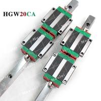 HIWIN HGW20 Linear Guide Rails set 20mm HGR20 2pcs 300mm and HGW20CA HGW20CC Guia Slide Block 400mm 500mm for CNC Kit