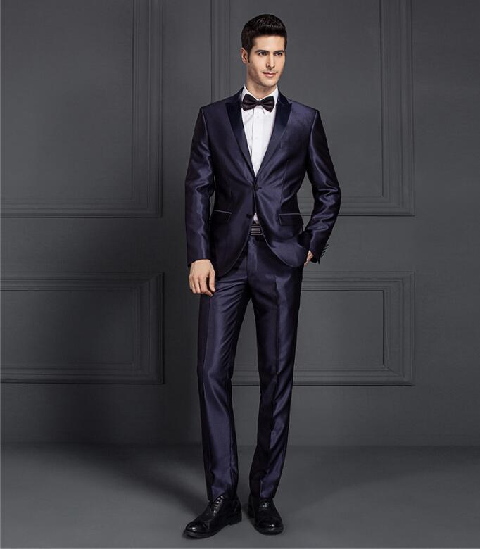 2019luxury Men Shiny Blue Black Gray Groom Wedding Custom Slim Fit Suit Two Buttons Male Formal Suit  Men Suits For Wedding