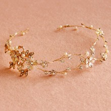 Dower me Gold Crystal Flower Bridal Headpiece Hair Vine Handmade Wedding Headband Accessories Women Jewelry