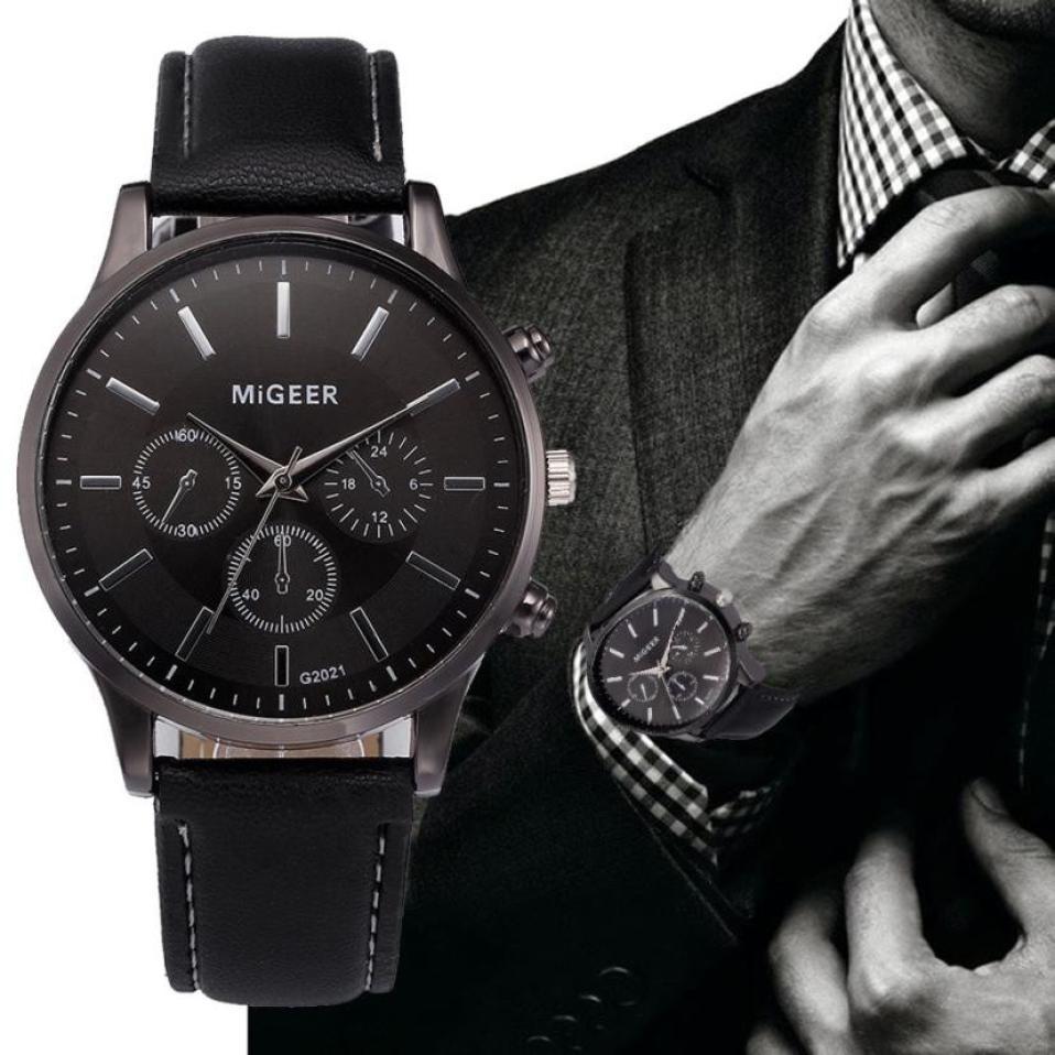 Wholesale Classic Retro Male Clock Design Leather Band Analog Alloy Quartz Wrist Watch Relogio Masculino Erkek Kol Saati 2018