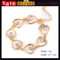 Women's Fashion Elegant Bangle Golden Full Rhinestone Heart String Beads Hollow Infinitely Tassel Bangle Bracelet Hand Chain