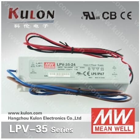 Genuine Meanwell LPV-35-24 36W 1.5A 24V led Power Supply IP67 UL CB CE EMC 2 years warranty meanwell 24v 35w ul certificated lpv series ip67 waterproof power supply 90 264v ac to 24v dc