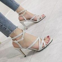 Summer Fashion Women Sexy High Heel Sandals Shiny Rhinestone Sandals Roman Style Thin Narrow Band Design High Heel Shoes Party недорго, оригинальная цена