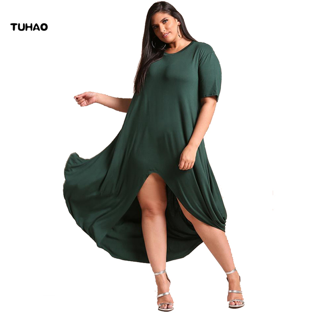 Tuhao 2018 Summer Style Women Long Dresses Plus Size 3xl 4xl Casual
