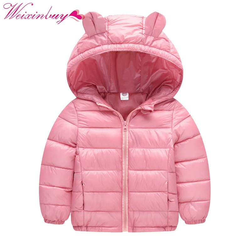Fashion Winter Candy Colors Jackets Girls Boys Pure Colors Warm Outerwear Baby Clothes Hooded Jacket for Kids Down jacket