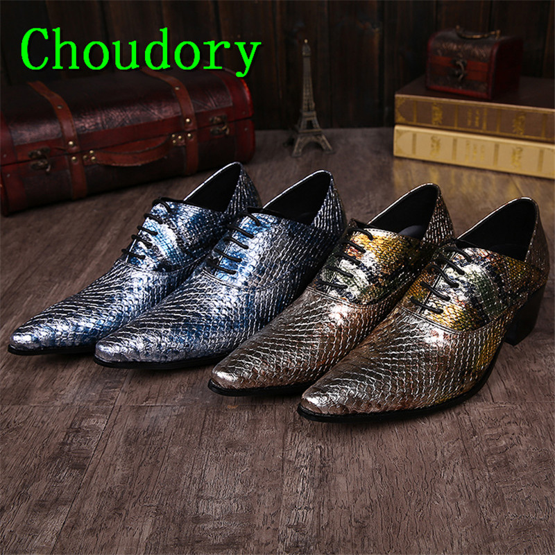 Choudory Height Increasing Mixed Colors Casual Shoes Lace Up Men Trainers Snakeskin Wedding Fluorescent Light Leather Male Shoes