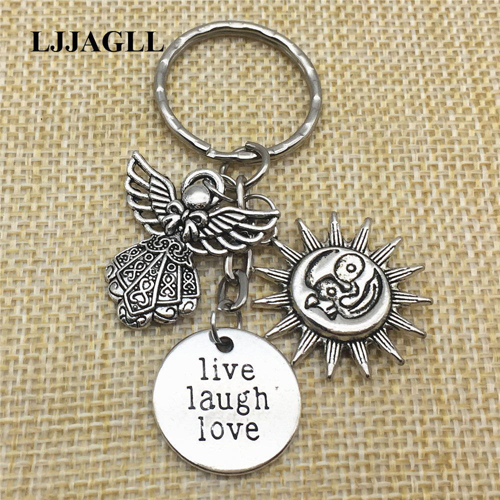 ad0a0ae031 Detail Feedback Questions about Tibetan Silver Sunshine Lover Angel Gift  Live Laugh Love Keychains 2pcs Double Face Sun&Moon Diy Jewelry Couple Gift  Key ...