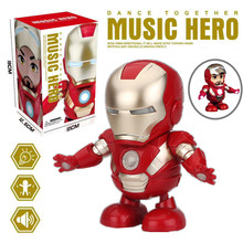 iron man figure can be Dance Action Figure Electronic Toy with LED Flashlight Mu
