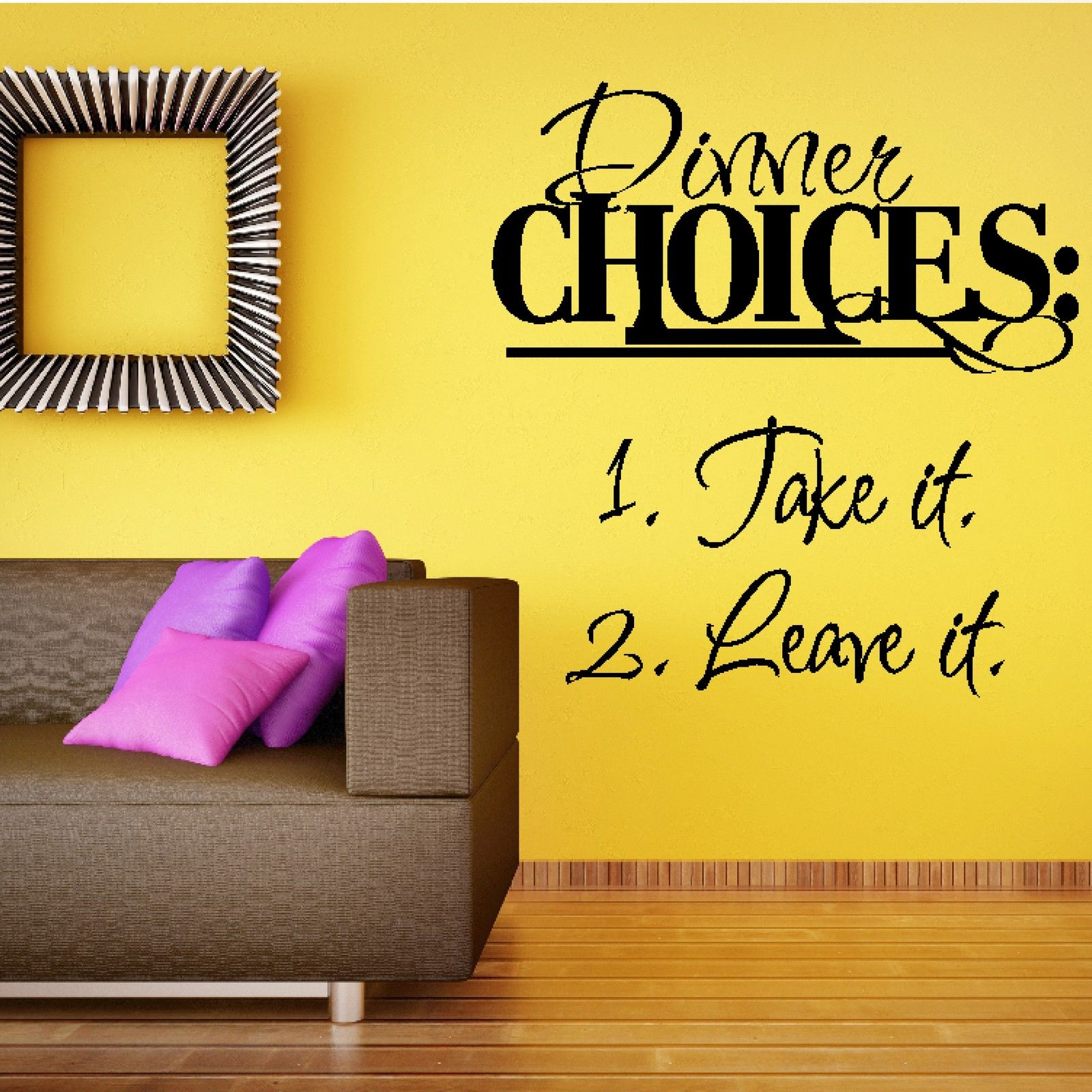 G294 Dinner Choices Quote Take Leave It Wall Sticker Food Design Decal Kitchen Restaurant Wall