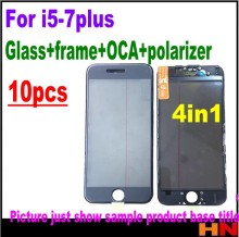 10pcs Cold Press 4 in 1 Front Screen Glass Lens with frame Polarizer OCA for iphone 7 7plus 6 6s 5 5s Touch Panel Replacement