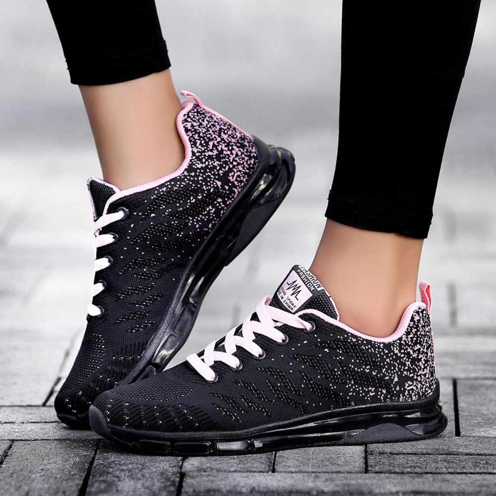 08e2a8eb Летающие тканые Air кроссовки на подушке студент беговые кроссовки с сеткой  кожа спортивная обувь для женщин