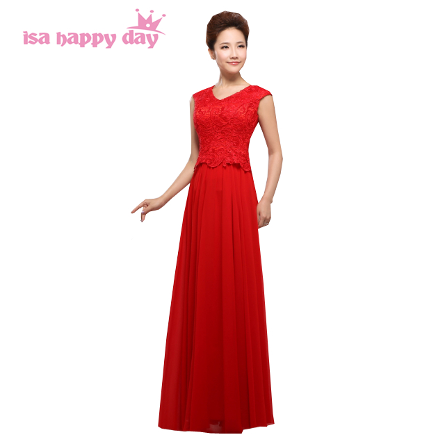 women red bride maid bridesmaids' & formal dresses lace sister of the bride dress girls chiffon for wedding party long H1357