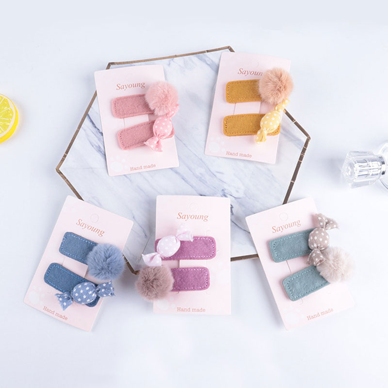 2Pcs Cute Kid Girls Snap Hair Clips Candy Tandem Ball Pompom Hairpins Barrettes Headwear Baby Children Hair Accessories Headwear