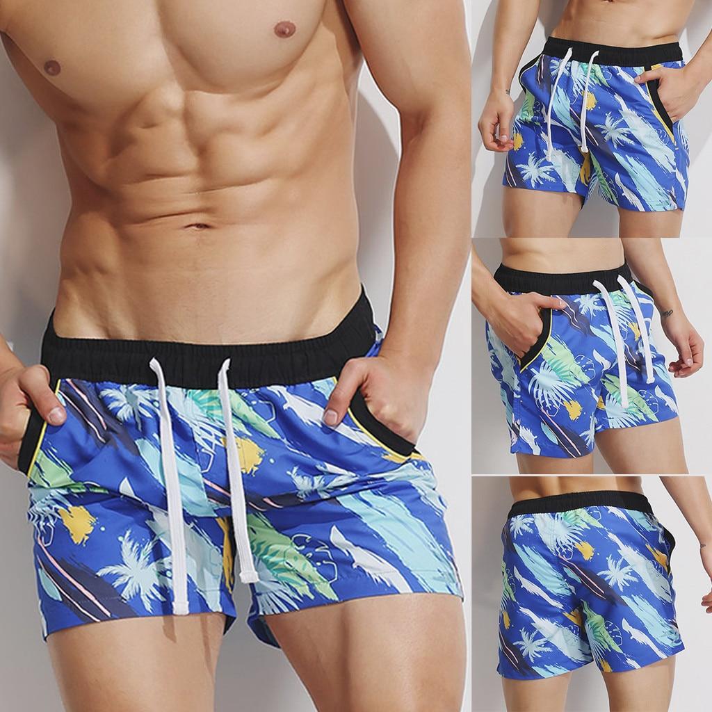 Short Pants Men Sport Loose Summer Short Pants Men Quick Dry Elastic Waist Printing Beach Surfing Short Pants L0319