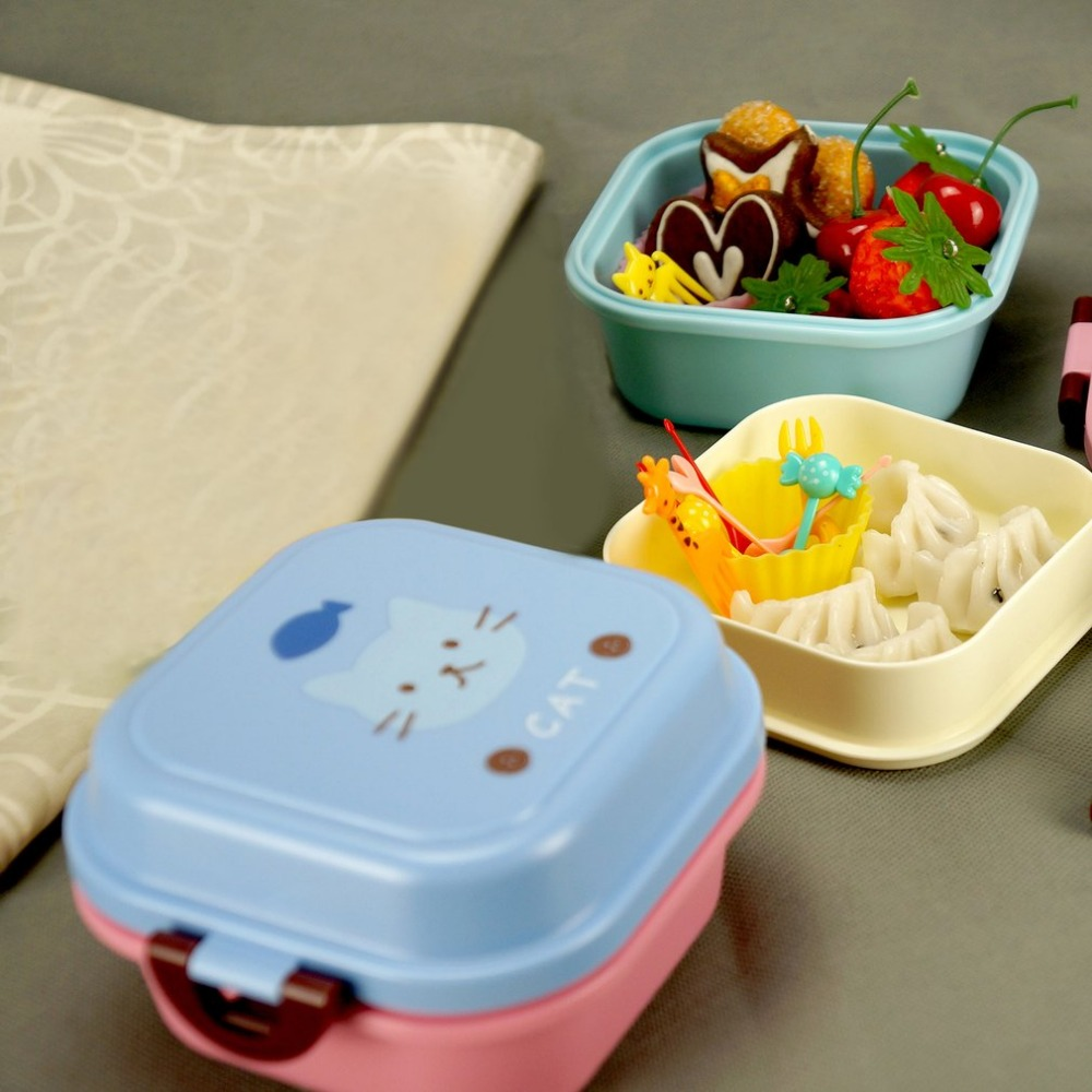 Double Layer Bento Lunchbox Plastic Food Storage Container Lunchbox For Kids Picnic School Dinnerware Set 540ml