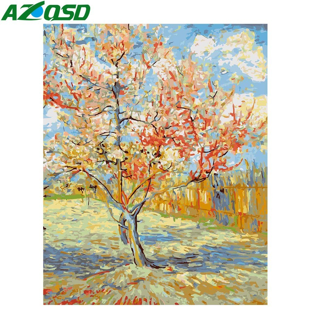 AZQSD Painting By Numbers Peach Blossom DIY Modern Oil Painting Tree Hand Paint Canvas Picture Home Decoration Flower Wall ArtAZQSD Painting By Numbers Peach Blossom DIY Modern Oil Painting Tree Hand Paint Canvas Picture Home Decoration Flower Wall Art