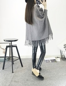 Image 4 - New Fashion Autumn And Winter Women High Collar Real Rabbit Fur Cloak Pullover Lady Bat Sleeves Tassel Poncho Sweater Knitwear