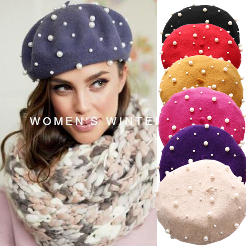 Ladies Autumn Winter Luxury Pearl Berets Rivet Cashmere Beret  Women Warm Vogue French Hats Girls Knitted Red Beaded Beret Femme