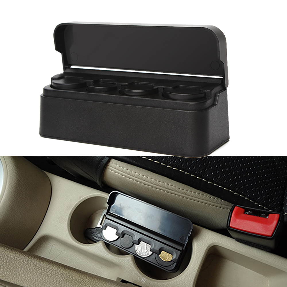Auto Car Case Coin Holder Change Container Storage Plastic Black  Box Affordable