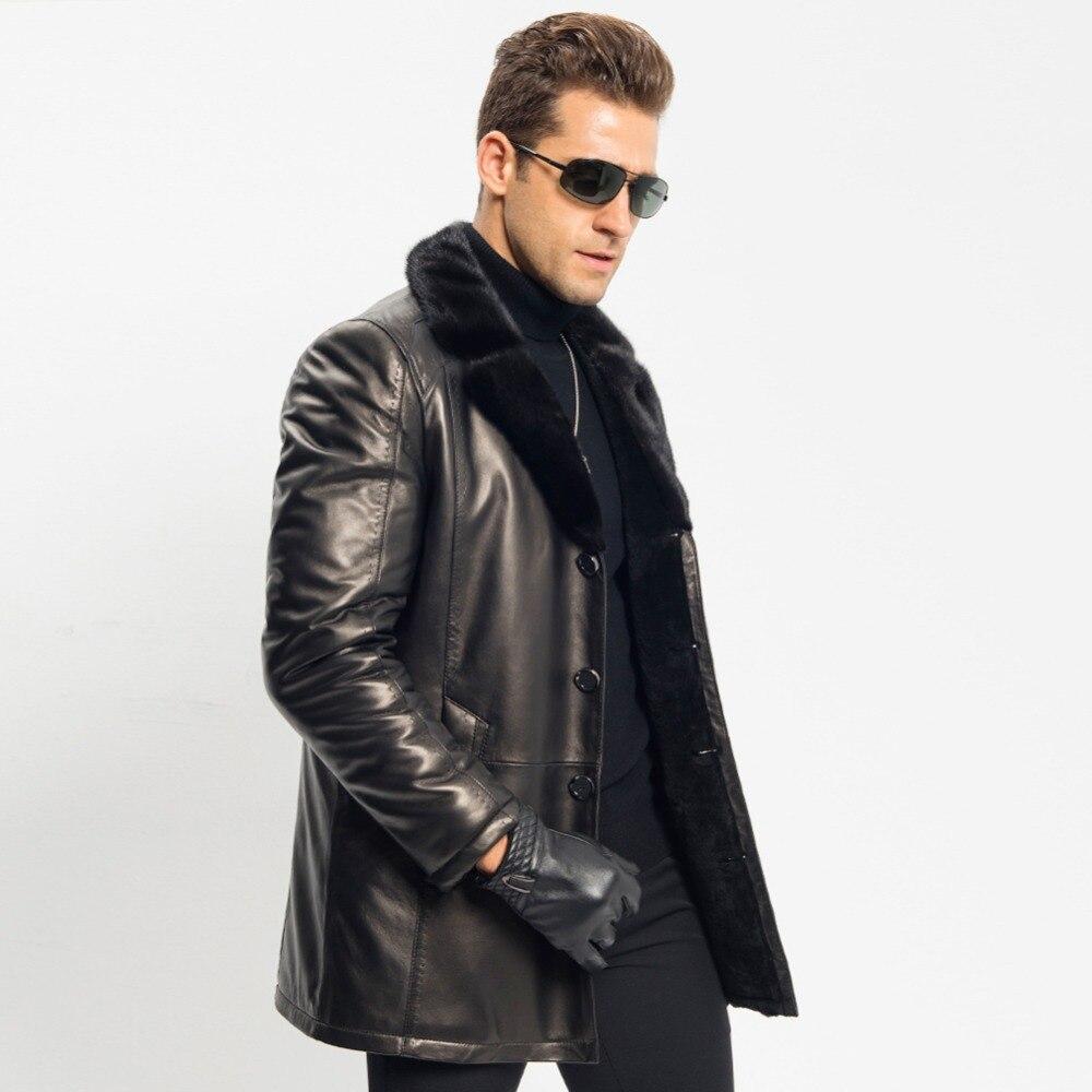 release date website for discount hot products € 414.12 10% de réduction|Manteau de fourrure pour hommes en peau de mouton  veste en cuir de luxe col en fourrure de vison vêtements d'extérieur longs  ...