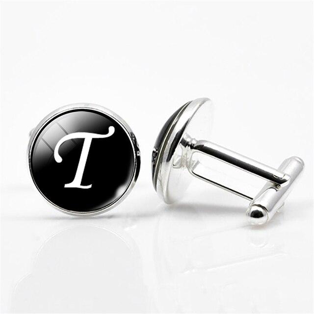 White on Black Silver Plated Letters N-Z Wedding Cufflinks for Men