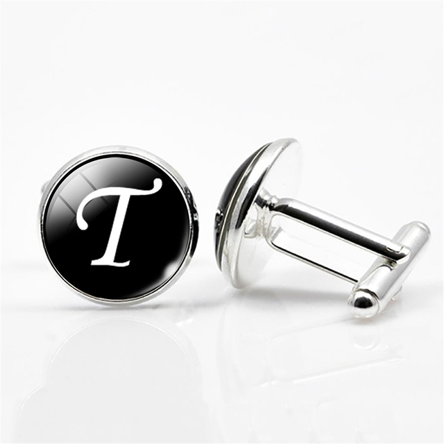White on Black Silver Plated Letters N-Z Wedding Cufflinks for Men
