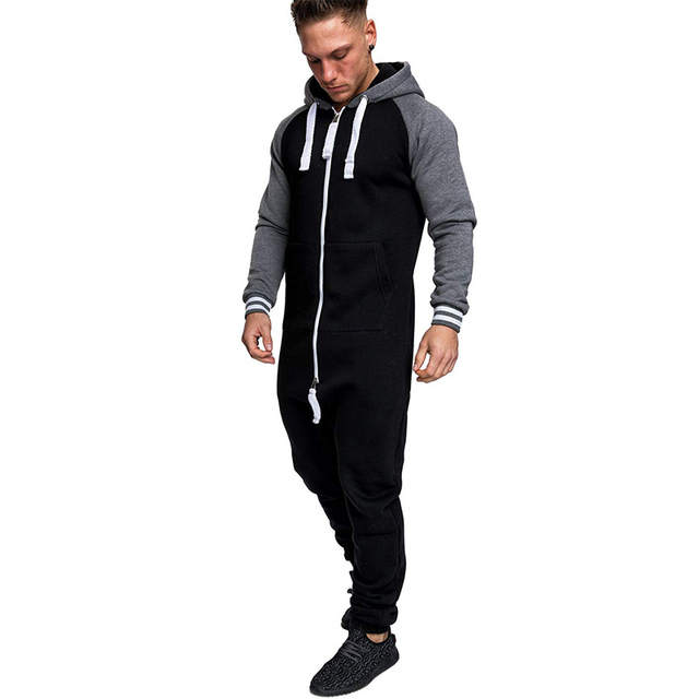 Casual Autumn Hooded Tracksuit Jumpsuit Long Pants Romper For Male Mens Fleece warm Overalls Sweatshirts Male Streetwear X9126 4