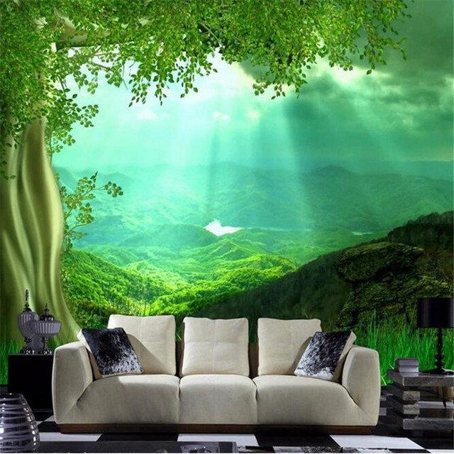 photo wallpaper 3d wall paper HD Sunshine trees grass green living     photo wallpaper 3d wall paper HD Sunshine trees grass green living room  bedroom large wall mural