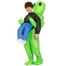 Детский Надувной зеленый костюм для девочек и мальчиков, костюм для Хэллоуина, забавное нарядное платье