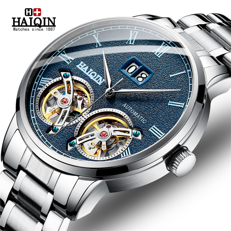 HAIQIN New Watches Mens Tourbillon Automatic Mechanical Watch Men Luxury Brand Business Stainless Steel Watch Relogio
