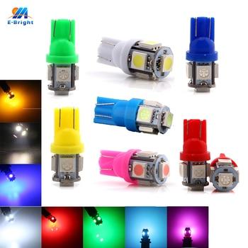 4 pcs T10 LED 12S Bulb 5050 Chip 5SMD W5W 194 168 LED Car Light Bulbs for Automobile Reading White Amber Blue Car Auto Light