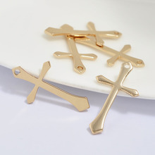 6PCS 25x14mm 24K Champagne Gold Color Plated Brass Crosses Charms Pendants High Quality Diy Jewelry Accessories