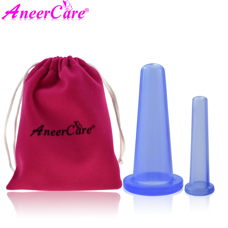 2 Pcs Facial Massage Silicone For Face Massager Cans Anti Cellulite Massager Cupping Set Family Vacuum Jars Cups