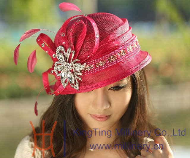 2650c985a401e El Envío Gratuito Nueva Moda Mujeres Sombrero Rojo de la Rosa Sinamay  Sombrero para el Sol