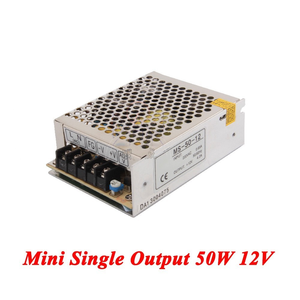 MS-50-12 Mini type switching power supply 50W 12V 4A,Single Output ac-dc for Led Strip,voltage converter 110v/220v to 12v meanwell 12v 350w ul certificated nes series switching power supply 85 264v ac to 12v dc