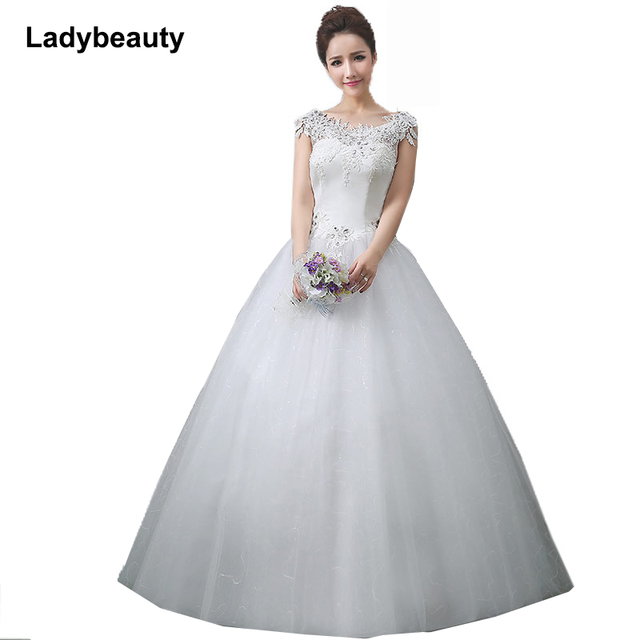 Ladybeauty New 2018 Wedding Dress Custom Made Slim Sequined Robe De