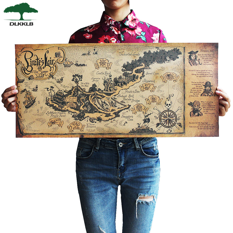 DLKKLB Retro Kraft Pirate Sailing World Map Poster Wall Sticker Living Room Bar Cafe Decor Ancient World Vintage Maps 72.5x33cm