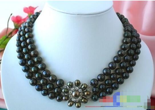 Hot sale new Style >>>>> AAA 3ROW 10MM BLACK ROUND FW PEARL NECKLACEHot sale new Style >>>>> AAA 3ROW 10MM BLACK ROUND FW PEARL NECKLACE