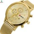 Marca de luxo Relógios Homens Relógio de Quartzo Wach Caixa Ultra Fina Malha de Aço Inoxidável Pulseira de Ouro Relógio de Pulso Relógio Do Esporte Dos Homens À Prova D' Água