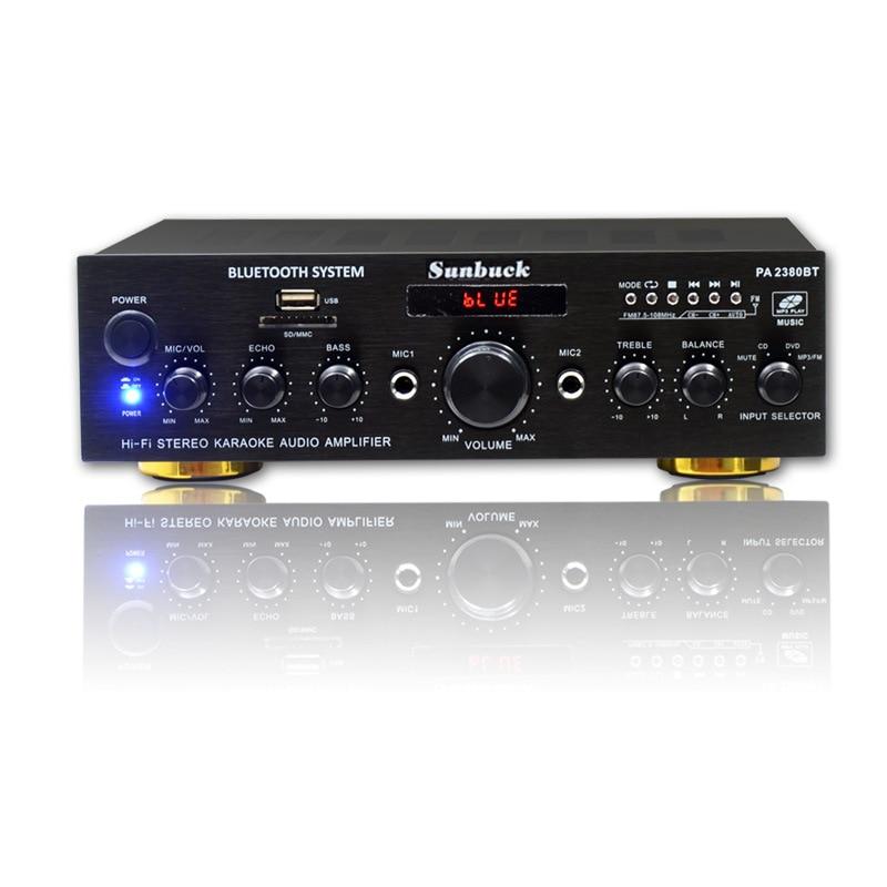 HIFI 2.0 home amplifier Bluetooth amplifier power KTV speaker FM radio card amplifier PA-2380BT high power amplifier ktv professional stage amplifier broadcast speaker amplifier p2500s