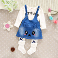 new baby suit spring autumn 100% cotton clothing boys girls T-shirt + strap dress 2pcs/sets of children's brand free shipping