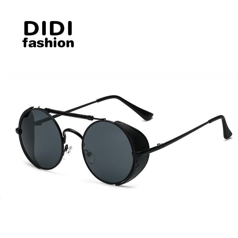 DIDI Hot Black Goggle Women Round Sunglasses Luxury Brand Men Glasses Retro Vintage Gothic Steampunk Sun glasses UV400 U460