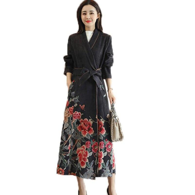 New Women Windbreaker Deerskin Suede Vintage Print Coats 2018 Autumn Fashion Long section   Trench   Coat Plus size Slim Female Coat