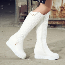 Summer Full Grain Leather Height Increasing Thigh High Shoes Short Plush Round Toe Zip Casual Lady